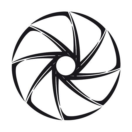 The stylized shutter of camera  illustration on white