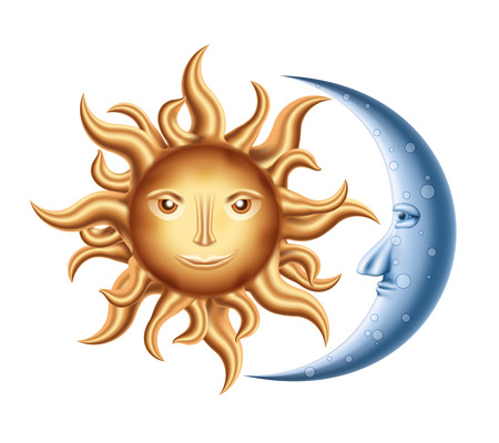 Illustration for Vector decorative Golden Sun with Blue Moon isolated on white - Royalty Free Image