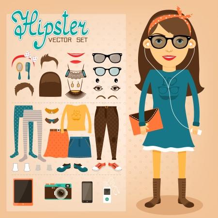 Ilustración de Hipster character pack for geek girl with accessory clothing and facial elements vector illustration - Imagen libre de derechos