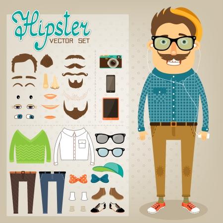 Ilustración de Hipster character pack for geek boy with accessory clothing and facial elements vector illustration - Imagen libre de derechos