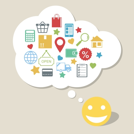 Online shopping innovation idea with happy satisfied customer vector illustration