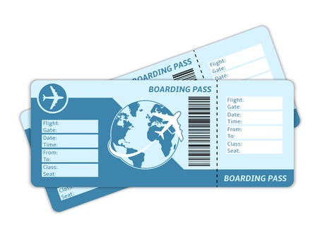 Blank plane tickets for business trip travel or vacation journey isolated vector illustration