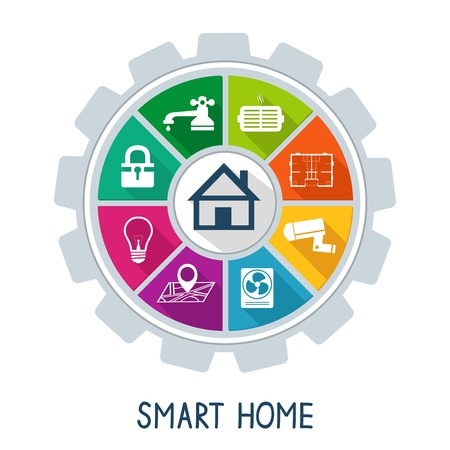 Smart home automation technology concept utilities safety security power and temperature control icons illustration