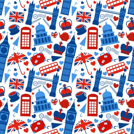 Seamless pattern background with London landmarks and Britain symbols illustration