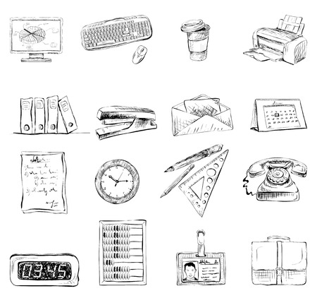 Business office stationery supplies icons set of computer