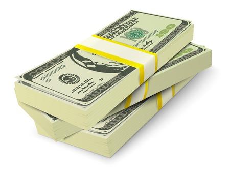 Realistic 3d dollar cash banknotes stack money concept