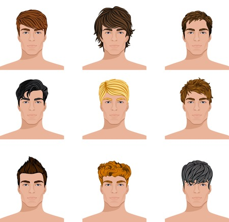 Ilustración de Set of close up different hair style young men portraits isolated vector illustrations - Imagen libre de derechos