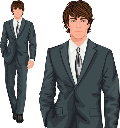 Ilustración de Young attractive professional businessman elegantly dressed in formal one button suit vector illustration - Imagen libre de derechos