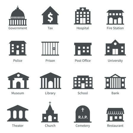 Illustration pour Government building icons set of police  museum library theater isolated vector illustration - image libre de droit