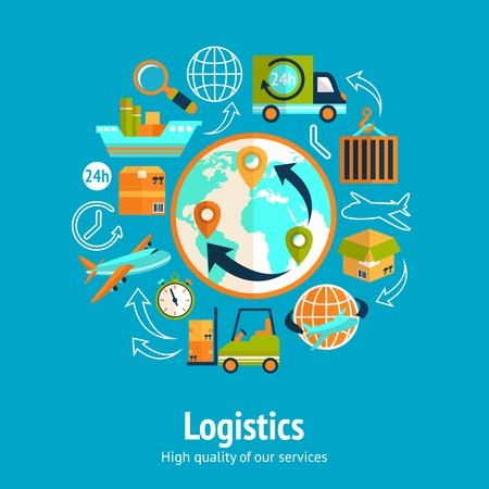 Illustration pour Logistic chain concept with globe and shipping freight service supply delivery icons vector illustration - image libre de droit