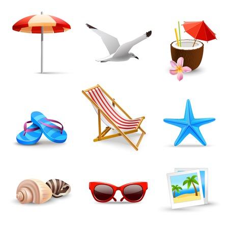 Ilustración de Realistic summer holidays seaside beach icons set isolated vector illustration - Imagen libre de derechos