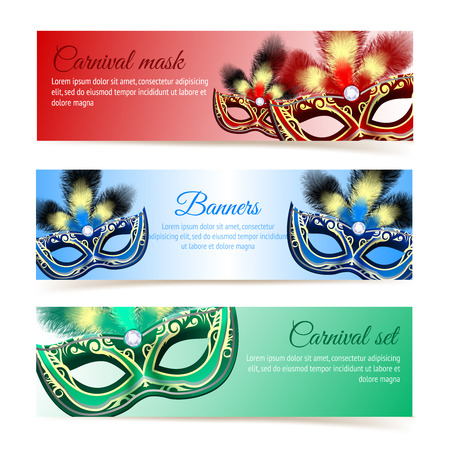 Colored venetian carnival mardi gras colorful party masks banners isolated vector illustration