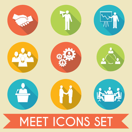 Vektor für Business people meeting and collaborating strategic concepts pictograms icons set flat isolated vector illustration - Lizenzfreies Bild