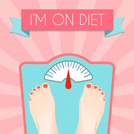 Healthy weight loss control with retro scale diet concept decorative poster vector illustration