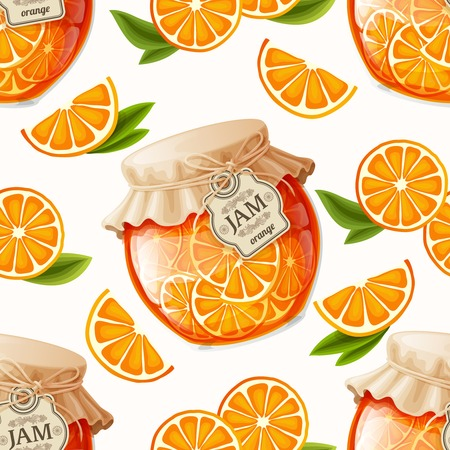 Natural organic orange slices jam jar and leaves seamless pattern vector illustration