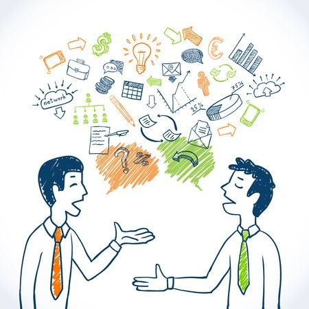 Illustration pour Doodle business conversation sketch concept with businessmen chatting and finance icons isolated vector illustration - image libre de droit