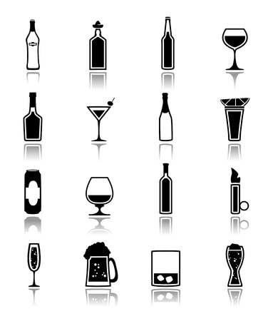 Alcohol drinks bottles and glass icons black set of beer can martini liquor isolated vector illustration.