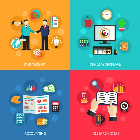 Business concept flat icons set of partnership office meeting accounting workplace and project ideas for infographics design web elements vector illustration