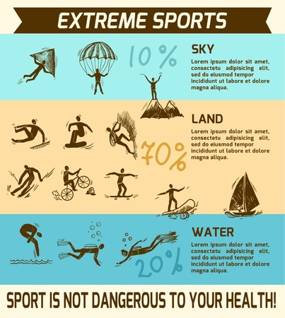 Extreme sky land water sports sketch infographic vector illustration.