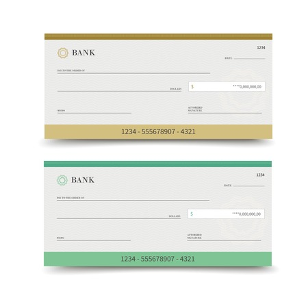 Realistic bank check set isolated on white background vector illustration