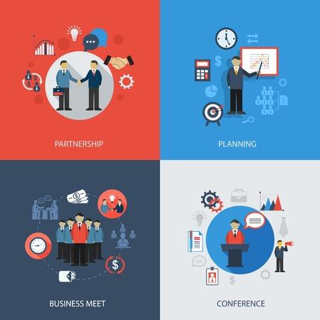 Vektor für Business concept flat icons set of meeting partnership planning conference infographic design elements vector illustration - Lizenzfreies Bild