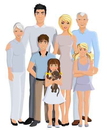 Happy family generation parents grandparents and kids full length portrait on white background vector illustration
