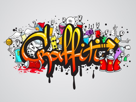 Decorative graffiti art spray paint letters and characters composition abstract wall artwork drawing sketch grunge vector illustration