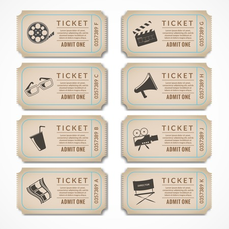 Retro movie cinema ticket banners with vintage camera popcorn isolated vector illustration.