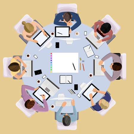 Illustration pour Top view concept of business meeting brainstorming professional people on the table illustration - image libre de droit