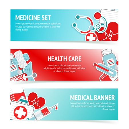 Three horizontal health care banners with medical emblems and emergency first aid kit symbols abstract vector illustration