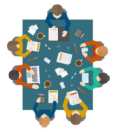 Illustration pour Flat style office workers business management meeting and brainstorming on the square table in top view vector illustration - image libre de droit