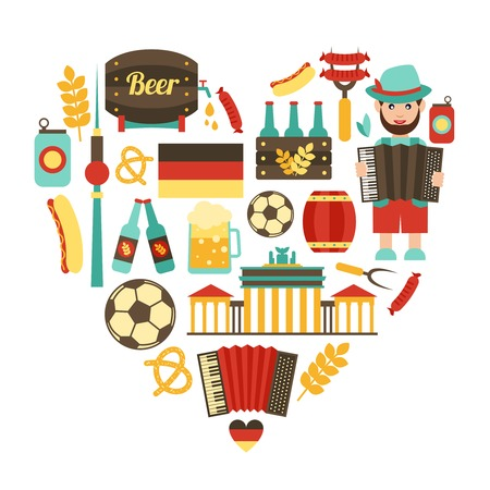 Germany travel traditional food and attractions concept icons heart set vector illustration
