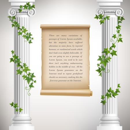 Antique greek columns with vine and vintage scroll poster vector illustration