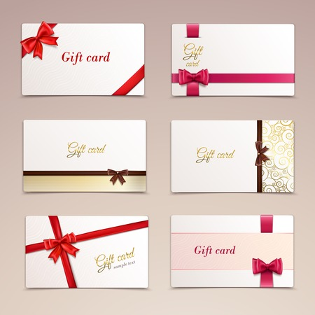 Gift cardboard paper cards set with red bows and ribbons illustration