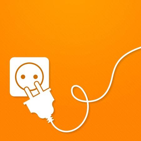 Electricity icon flat with plug and socket on orange background vector illustration