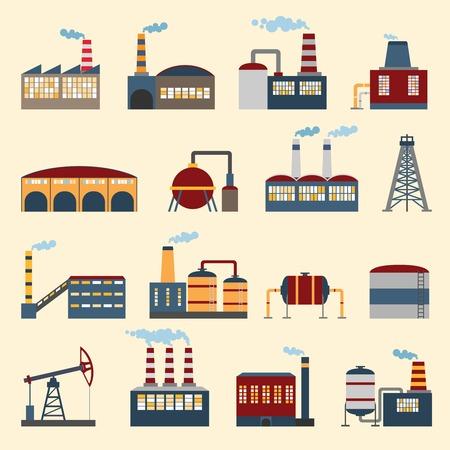 Illustration pour Industrial building factories and plants icons set isolated vector illustration. - image libre de droit