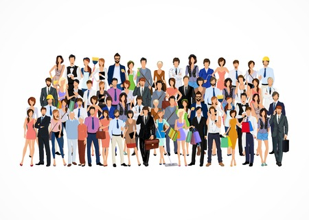Large group crowd of people adult professionals poster vector illustration