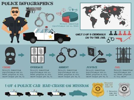 Police infographic set with crime evidence arrest justice jail icons vector illustration