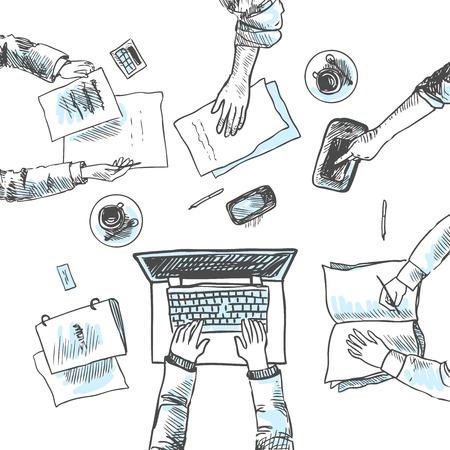 Illustration pour Business meeting concept top view people hands sketch vector illustration - image libre de droit