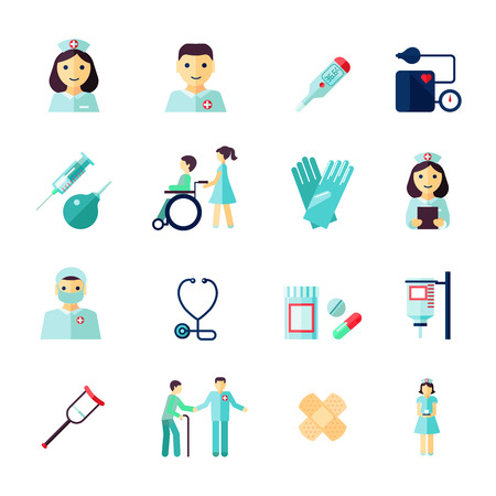Ilustración de Nurse health care medical icons flat set isolated vector illustration - Imagen libre de derechos