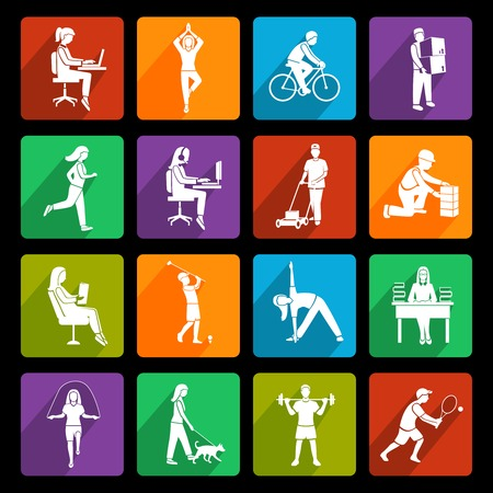 Physical activity flat icons set with running walking talking people isolated vector illustration