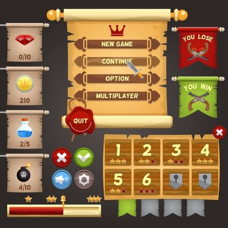Illustration pour Arcade game menu interface design template vector illustration - image libre de droit