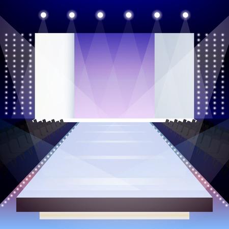 Foto de Empty illuminated fashion runway scene designer presentation poster vector illustration - Imagen libre de derechos