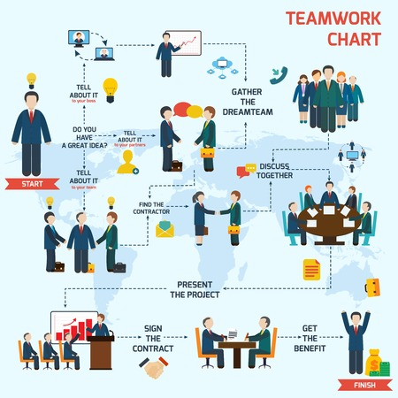 Photo pour Teamwork infographic set with business avatars and world map vector illustration - image libre de droit