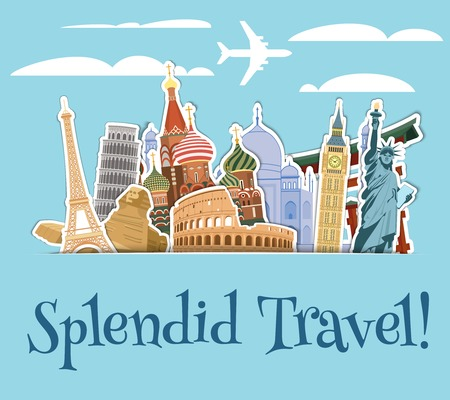 Illustration for World landmarks sticker icons set with sky scrapbook background vector illustration - Royalty Free Image