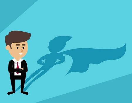 Illustration pour Businessman with superhero cape shadow scene vector illustration - image libre de droit