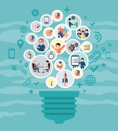 Illustration pour Social network concept with idea lightbulb and business people icons vector illustration - image libre de droit