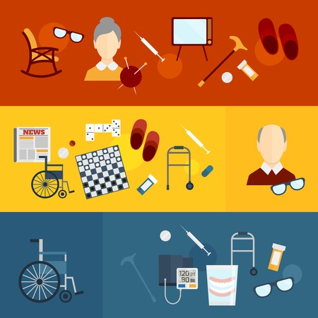 Pensioners life elderly care flat banners set isolated illustration