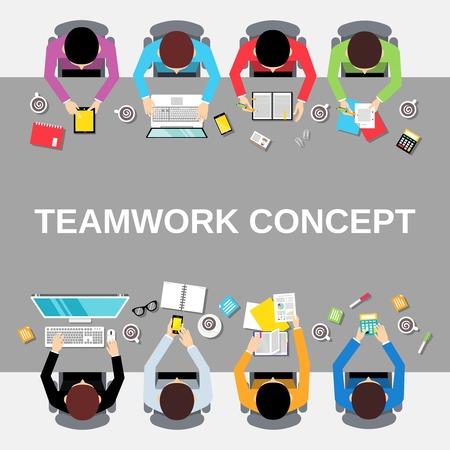 Illustration pour Business team teamwork concept top view office people group on long table illustration - image libre de droit