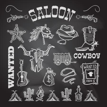 Wild west cowboy chalkboard set with gun money bag horse isolated vector illustrationの素材 [FY31032938532]